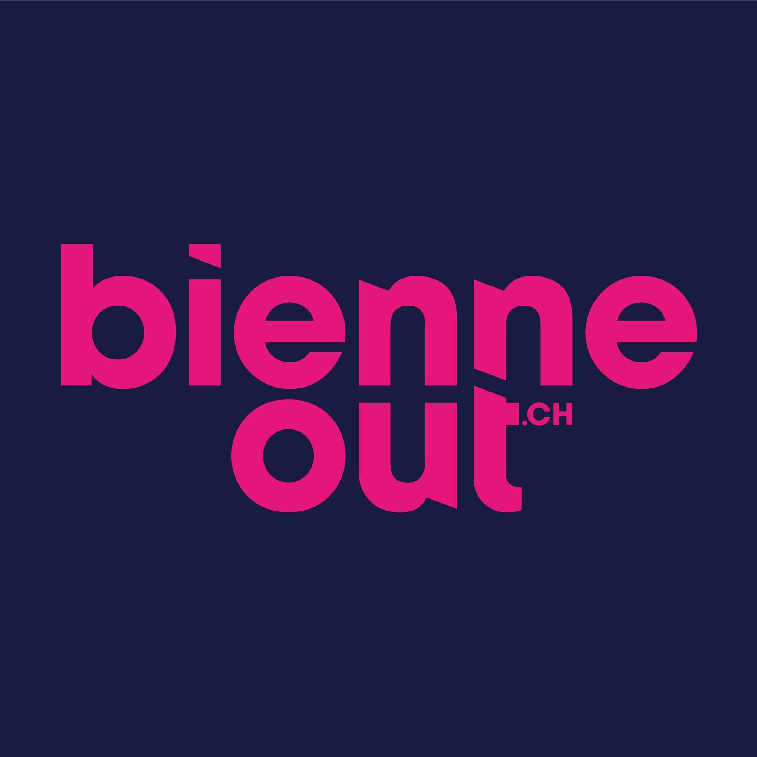 Logo bienneout, für die Bieler Kulturagenda kreierte Hyperraum von Grund auf ein neues Logo.